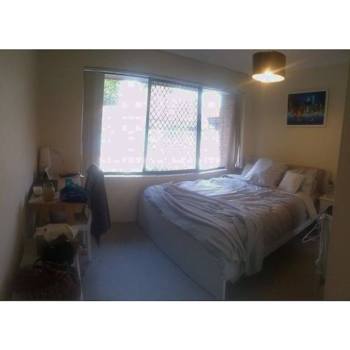 Bed included (no other furniture. Contains large built in wardrobe.