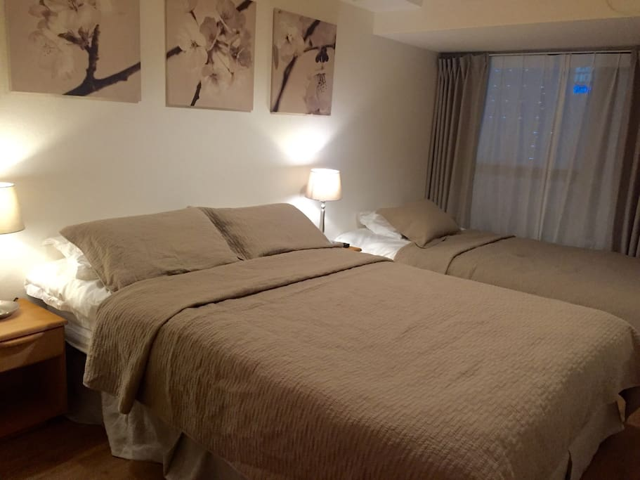 1 x 140cm bed  1 x 120cm sofa bed with additional mattress on top