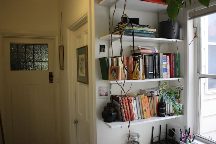Lots of books to read in the study nook