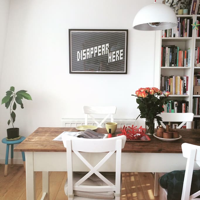 Bright, sunny living/dining space.