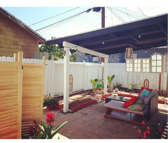 Fenced and secure back yard, can be enjoyed daytime or nighttime with patio lights