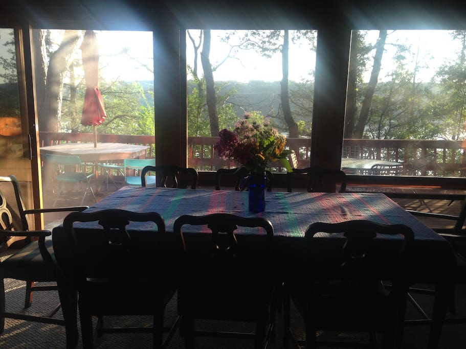 Panoramic view across the St. Croix River from dining area