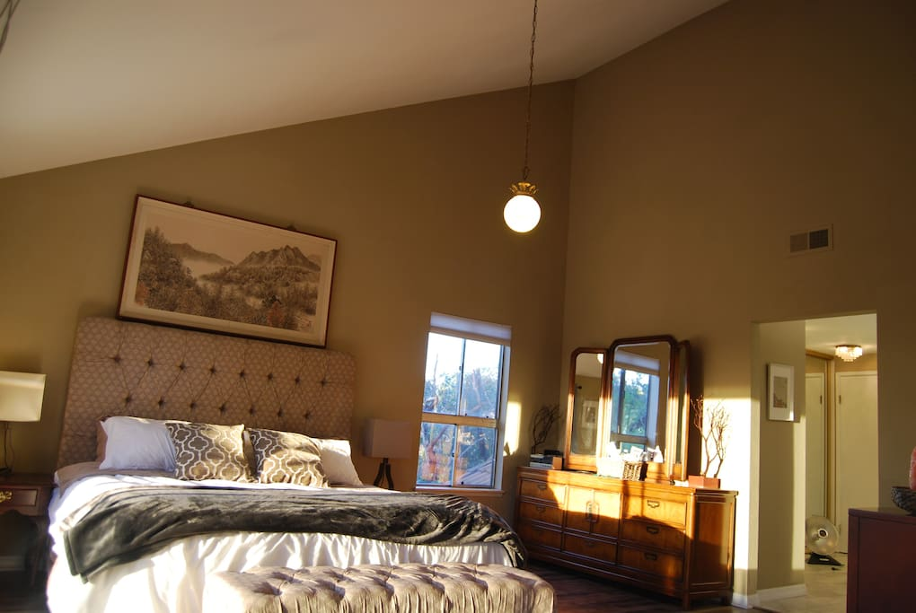 Vaulted ceilings make this room feel every bit of its 700sqft