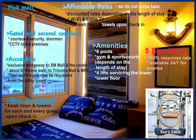 Boat Cabin style, 1BR Furnished wi-fi & city view - Quezon City - Selveierleilighet