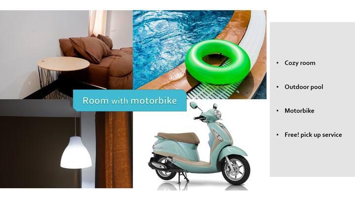 CozyRoom+Motorbike #OutdoorPool Free!PickUp
