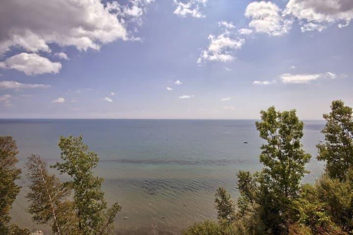 Panoramic views of Lake Erie's Long Point Bay from the living room