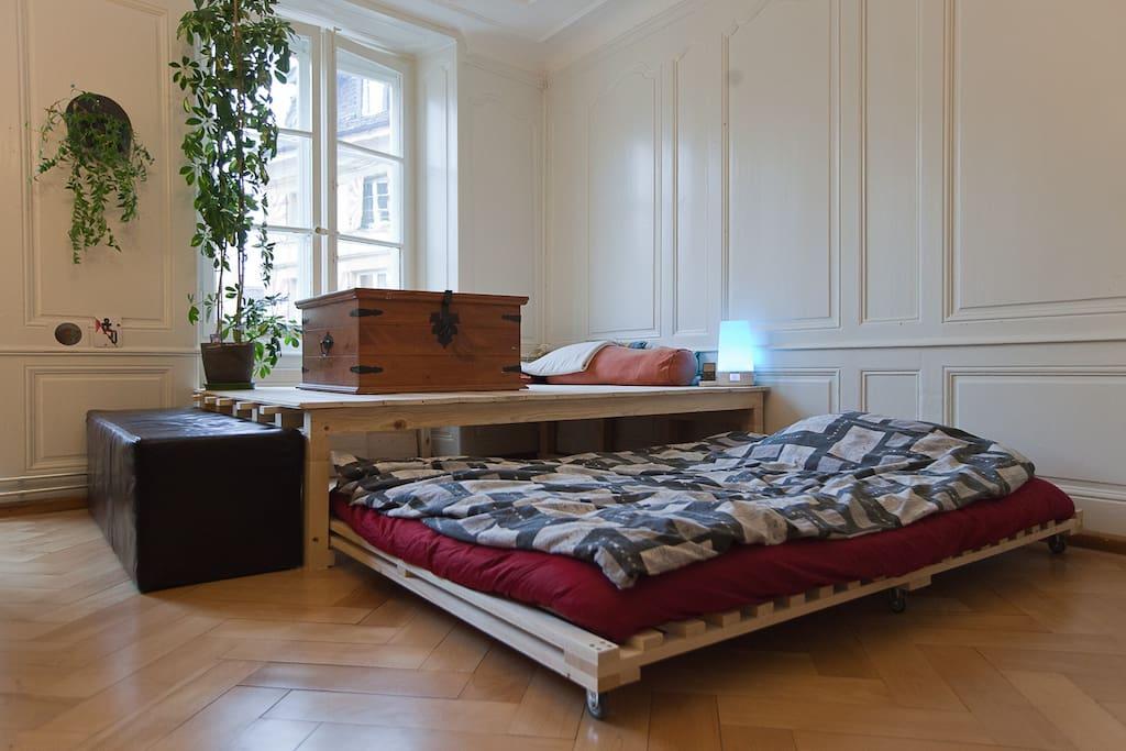 Chambre avec possibilité de mettre les 2 lits doubles ou les garder superposés