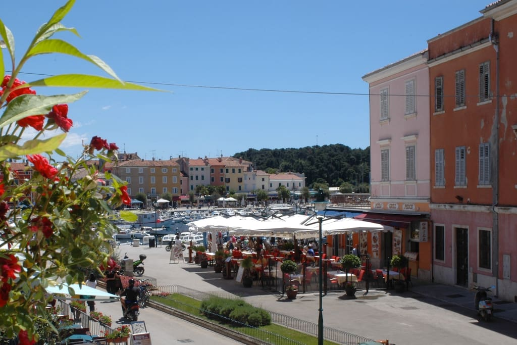 The view over the small harbour of Rovinj