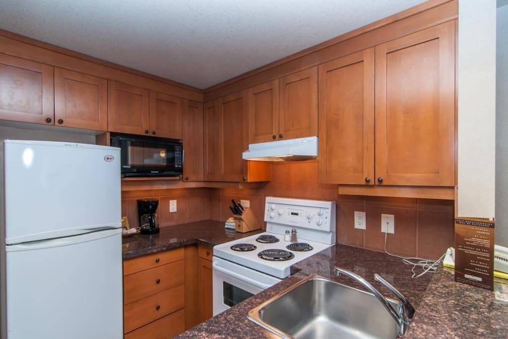 The fully-equipped kitchen has modern appliances.