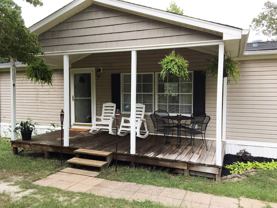 Cozy front porch with rocking chairs!