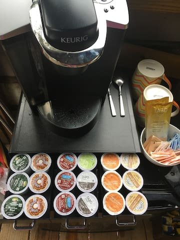 There are two Keurigs. One is located in the treehouse and the second is located in the indoor lounge area. Drink and be merry!