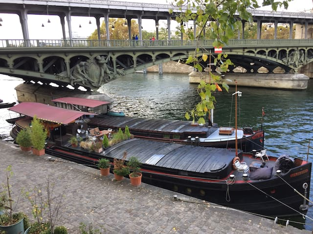 Charming studio on a houseboat, Eiffel Tower.