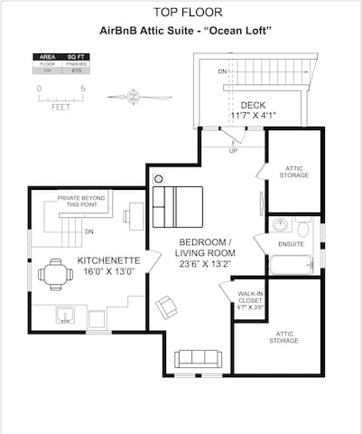 This is a floorplan of the loft, showing approximate measurements and general layout.