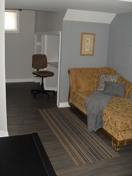 Desk, chair with closet