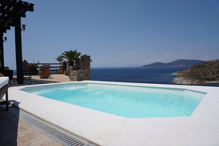Karystos Villa Private Pool Beach Seaside Karnagio