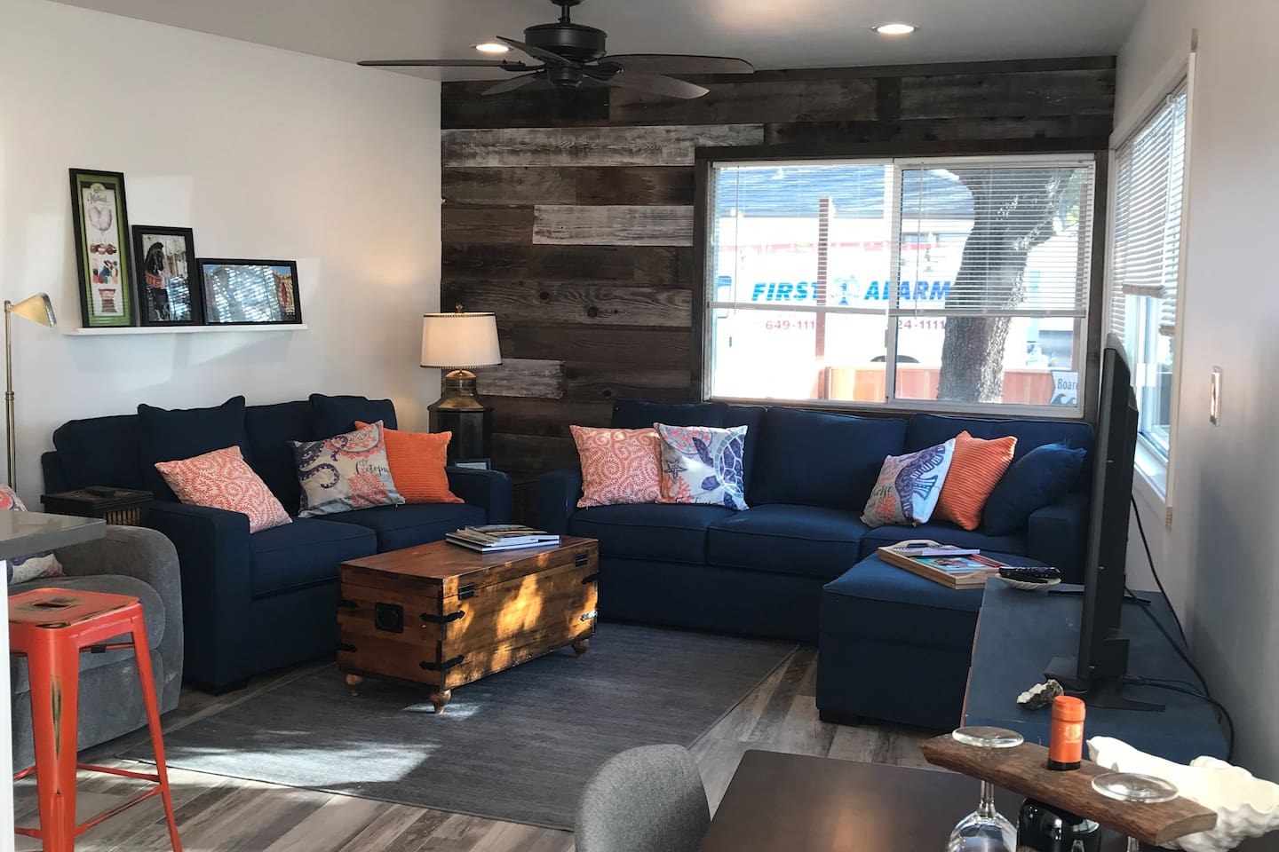 Living room has motorized reclining chair,  Smart TV and Cable, new queen sofa sleeper with 4.5 inch memory foam mattress.  Choice of single air mattress or folding bed with memory foam mattress in closet for optional sleeping arrangements.