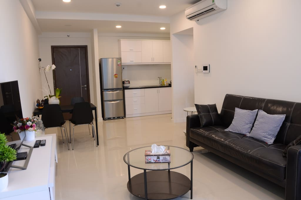 Living room & morden kitchen with full of cooking material