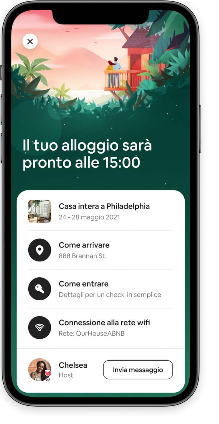 Informazioni sugli ospiti, compreso l'accesso ai dettagli del check-in e al tuo host, nell'app di Airbnb.