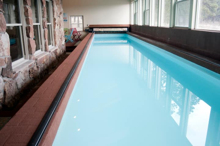 44ft indoor heated lap pool retreat
