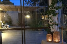 Early autumn in September. This outdoor room is very cosy and it could be used all days until November/December. Of course with extra warmth from the infrared heaters.