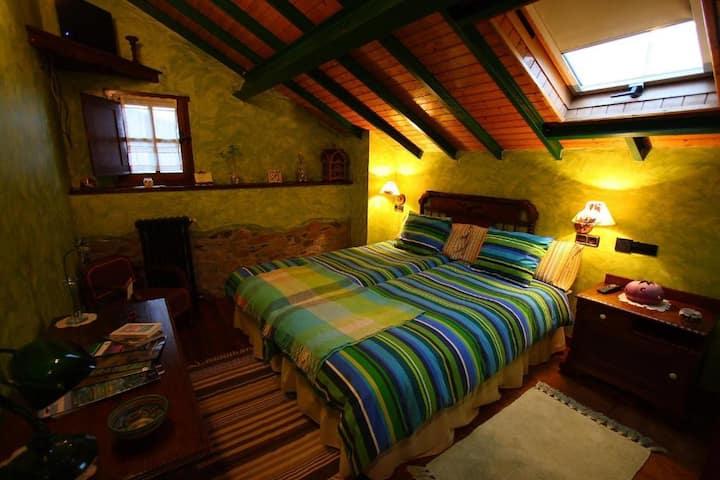 Estupenda habitación rural doble (Verde)