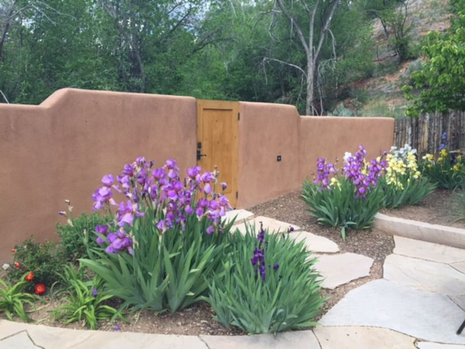 Courtyard garden that leads to hiking trails