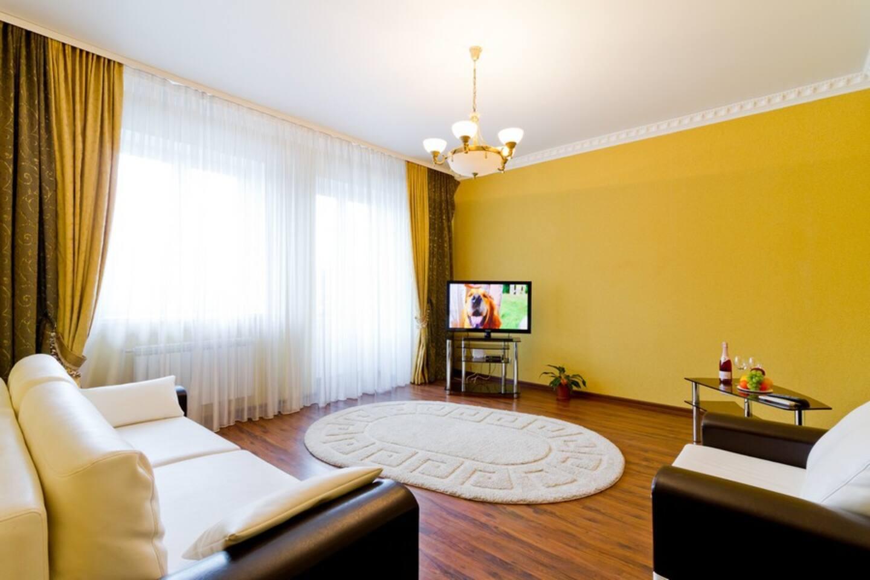 Апартаменты в Троицком предместье. Гостиная. Двуспальный диван ( удобен для комфортного сна двух гостей). Телевизор  ЖК