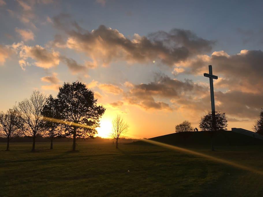 Papal Cross at sunset, Phoenix Park.