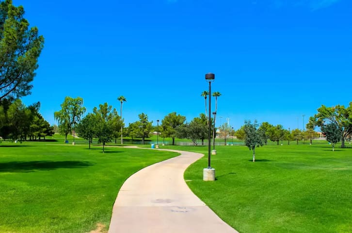 The greenbelt is literally the backyard of the condo. This trail goes for miles next to golf courses, lakes, scenic parks, and will take you to Old Town Scottsdale. Bikes are available for rent at the condo complex.