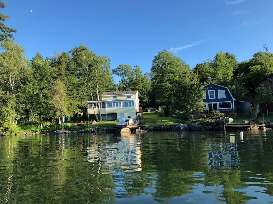 July 21st 2018 Beautiful day on the lake. My moms home to the left and my  lake house to the right.
