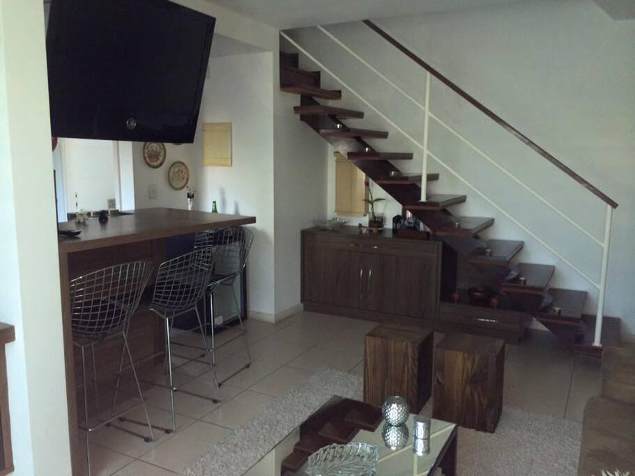 Duplex com quartos no primeiro andar
