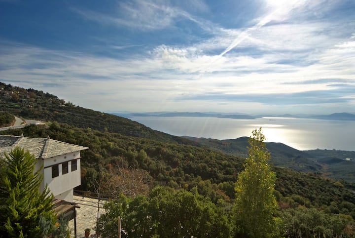 PELION HOMES | POOL VILLA SELINI with amazing view