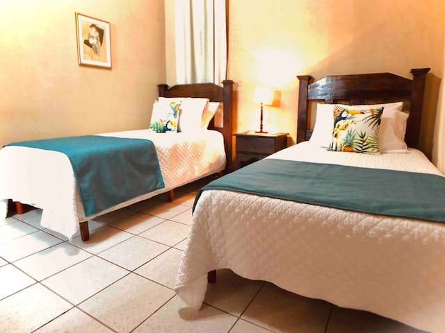 Third bedroom has 2 twin beds and its own bathroom. A third mattress on the floor can be placed in this bedroom for a 7th guest. This guest has a fee - please ask about this.