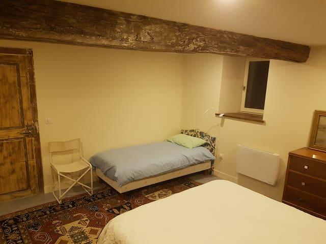 Chambre rez de chaussée 2 lits 1 petit et 1 king size cote jardin