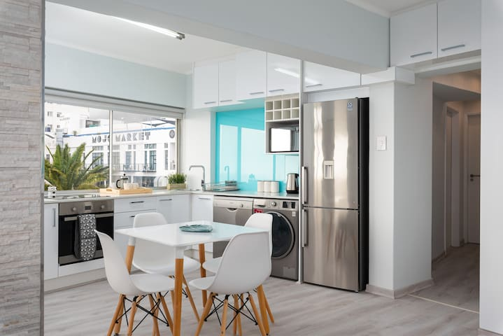 Modern, bright and airy fully equipped open plan kitchen.