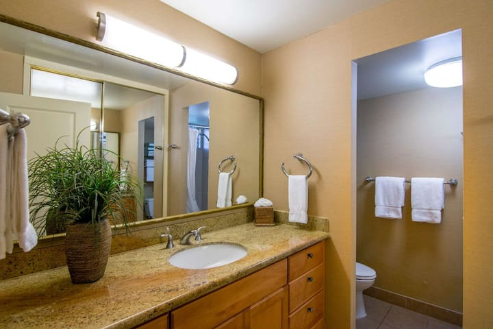 Updgraded bathroom with granite countertops.