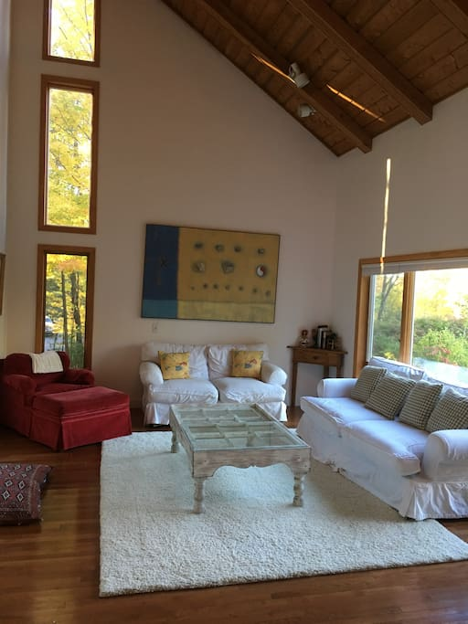 Living room with cathedral ceilings