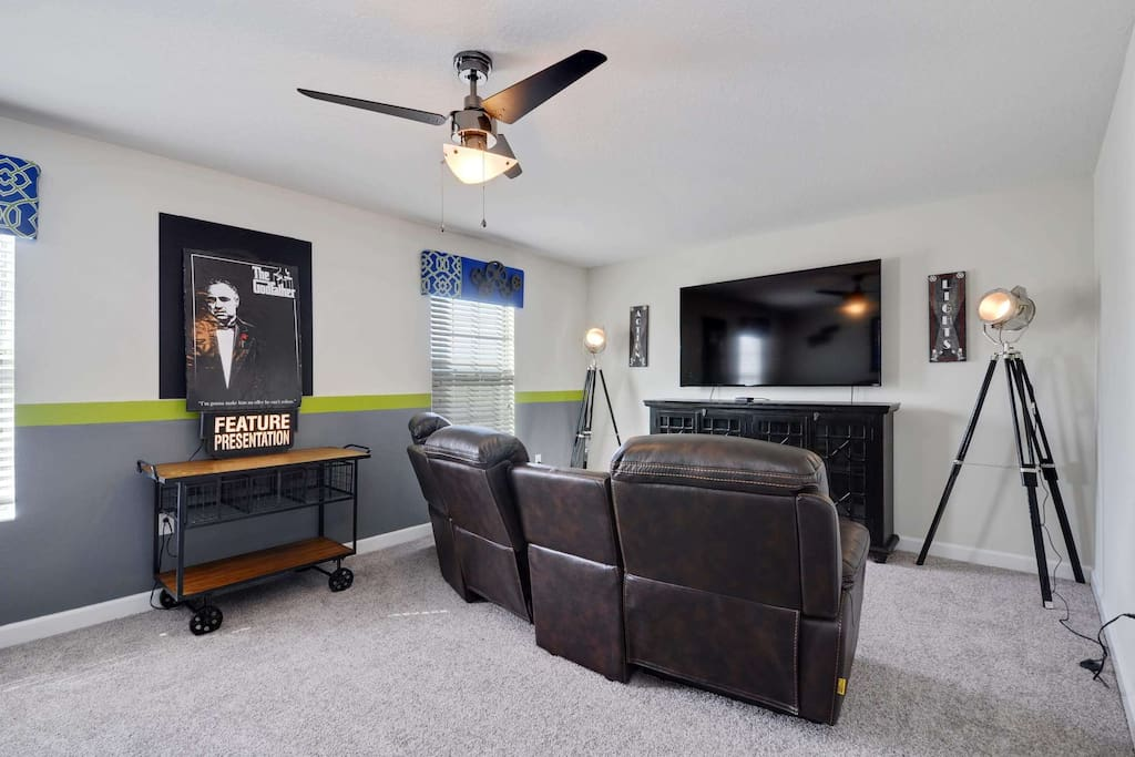 Another wonderful bonus space offered in this spacious home is this unique movie room.