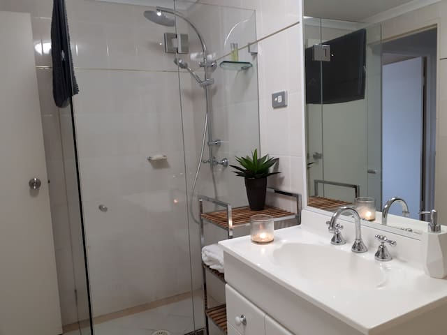 Your bathroom is private and lockable. Well equipped for your comfort.