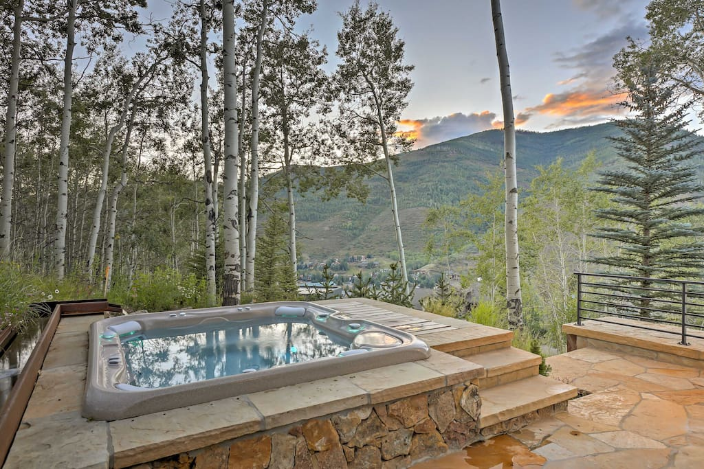 Soak in the hot tub while enjoying serene views of the surrounding mountains and White River National Forest.