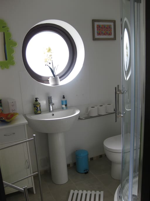 Brand new bathroom with a shower
