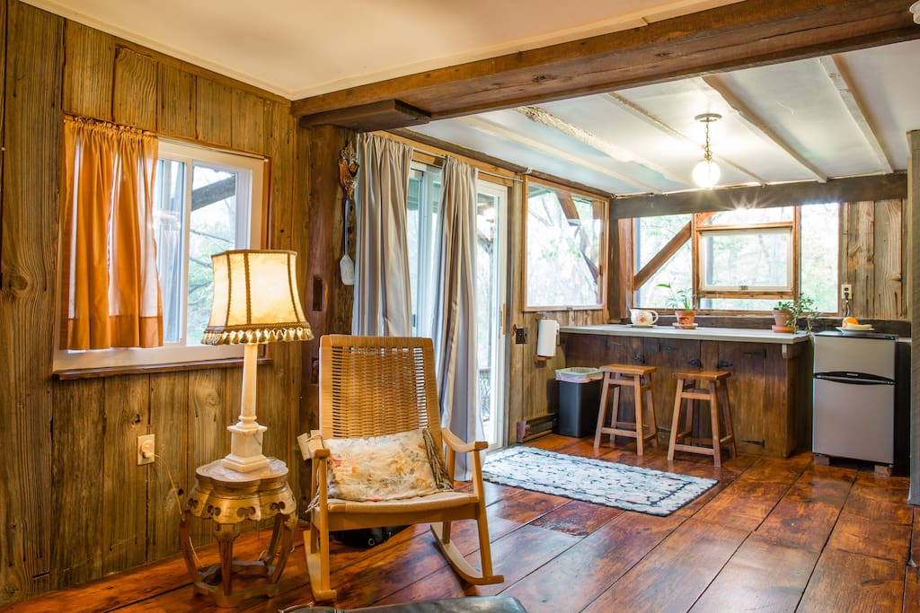 Interior of Charming Barn apt. , the special antique barn apt., you're booking, adjacent to Granary Pond.