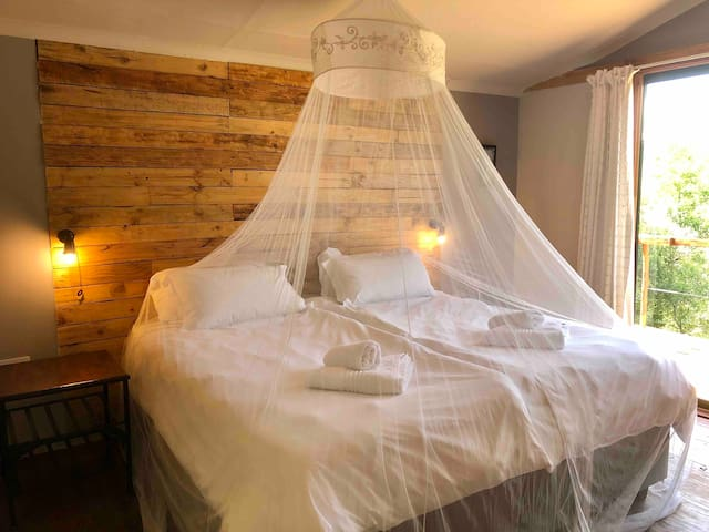 Comfortable single or King bed with Mosquito Net