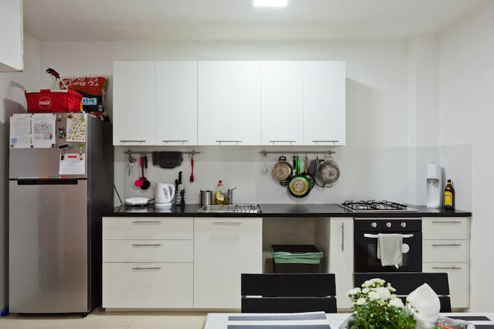 Fully equipped kitchen. Cook anytime or enjoy the included breakfast in the morning.