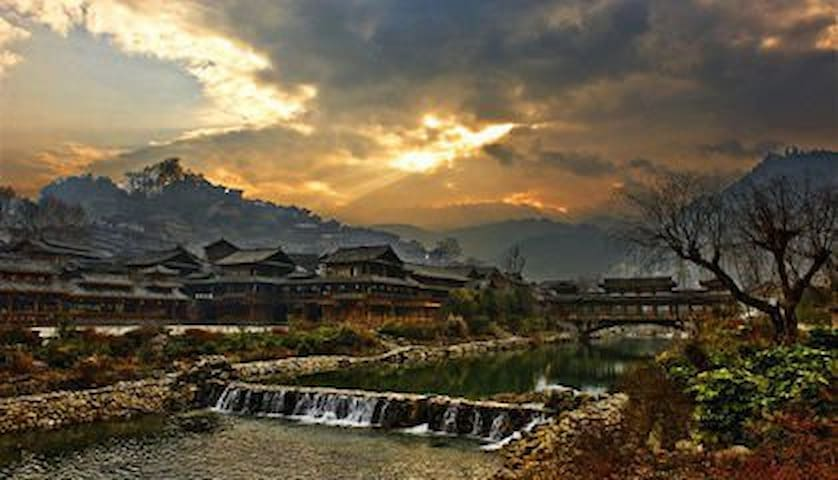 scenic spot homestay景区内特色民宿西江千户苗寨 双床 独立卫生间