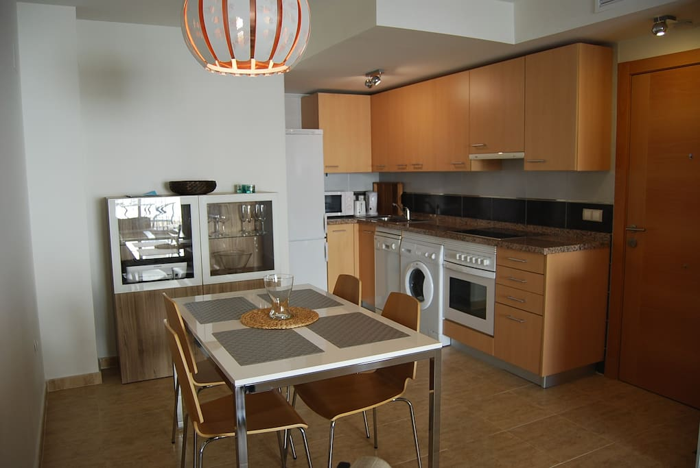 Kitchen and dining table.