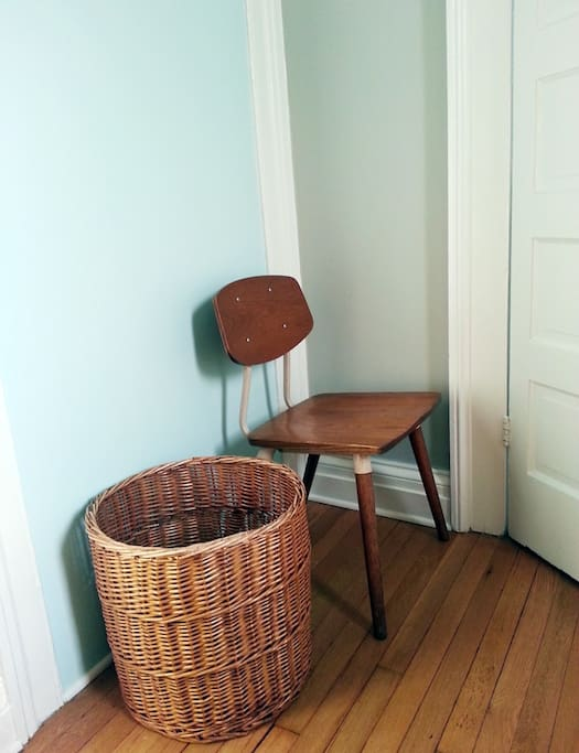 Bedroom seating and hamper