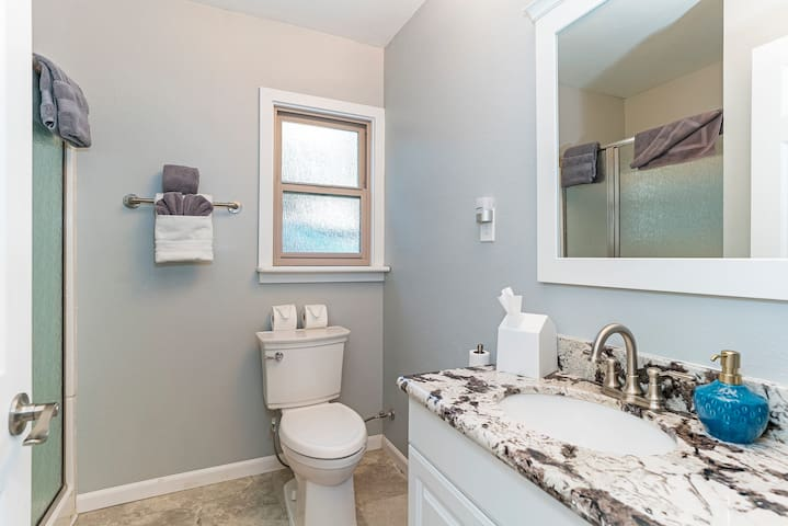 The bathroom includes a walk-in shower and a ceiling heater.