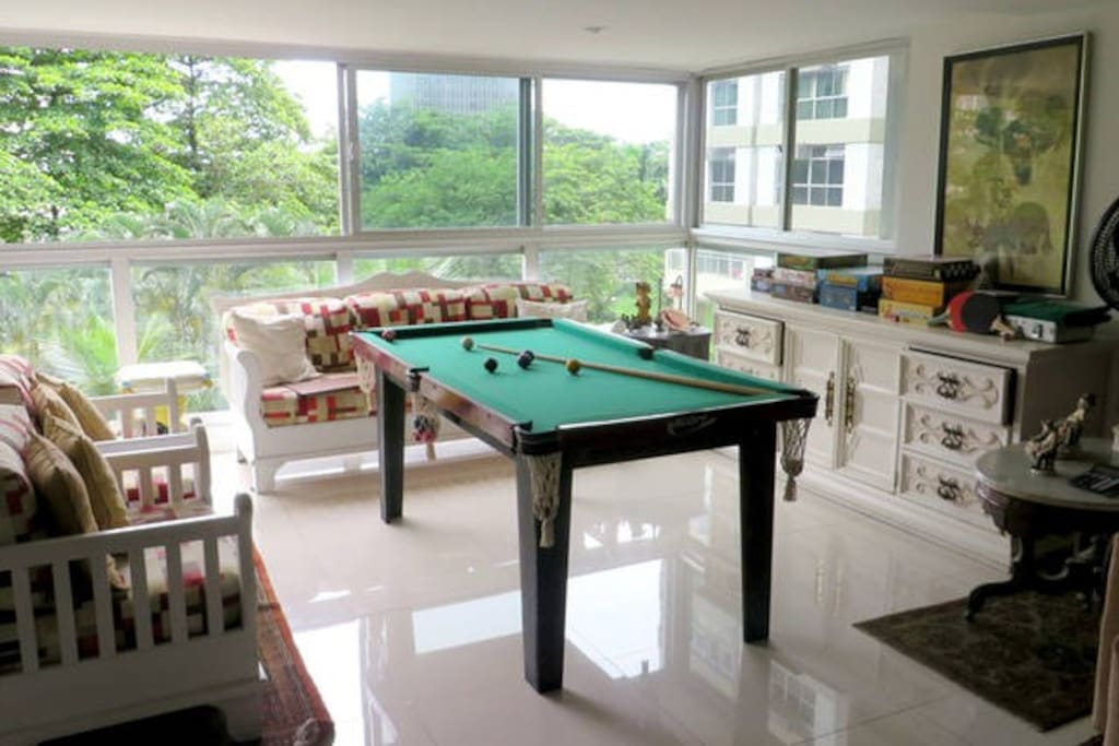 living room with a view an snooker