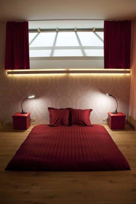romantic bed in floor